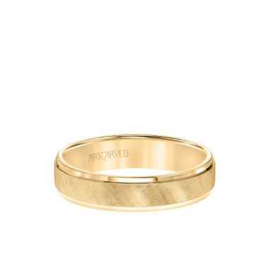 ArtCarved 5MM Men's Classic Wedding Band - Etched Finish and Rolled Edge in 14k Yellow Gold