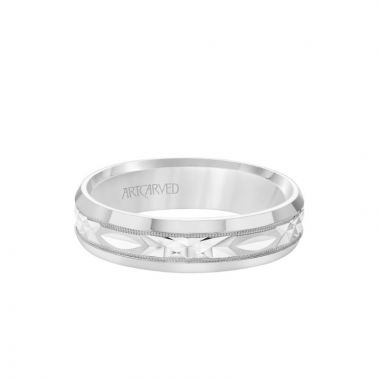 ArtCarved 6MM Men's Wedding Band - Swiss Cut Design with Milgrain and Rolled Edge in 18k White Gold