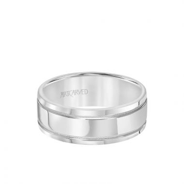 ArtCarved 8MM Men's Classic Polished Wedding Band - Polished Finish with Milgrain Detail and Round Edge in 14k White Gold