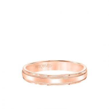 ArtCarved 6.5MM Men's Wedding Band - High Polished Finish with Milgrain Detail and Bevel Edge in 14k Rose Gold