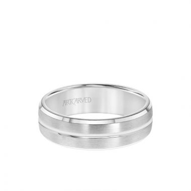 ArtCarved 6.5MM Men's Wedding Band - Brush Finish with Polished Center Line and Bevel Edge in 14k White Gold