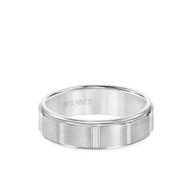 ArtCarved Platinum 6.5MM Men's Wedding Band - Brush Finish with Geometric Design and Round Edge