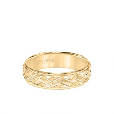 ArtCarved 6MM Men's Classic Wedding Band - Criss-Cross Swiss Cut Engraved Design and Step Edge in 14k Yellow Gold