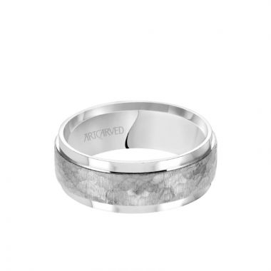 ArtCarved 8MM Men's Classic Wedding Band - Brush Hammered Finish and Flat Edge in 14k White Gold
