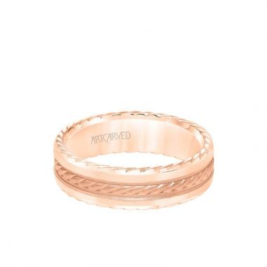 ArtCarved 6.5MM Men's Wedding Band - Soft Sand Finish with Rope Center, and Bevel Edge with Side Rope Detail in 18k Rose Gold
