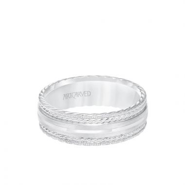 ArtCarved 7MM Men's Wedding Band - Satin Finish with Rope Details and Milgrain and Rope Edge in 18k White Gold