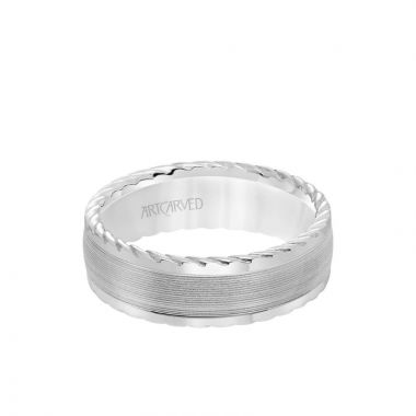 ArtCarved 7MM Men's Wedding Band - Serrated Finish with Round Edge with Rope Detail in 14k White Gold