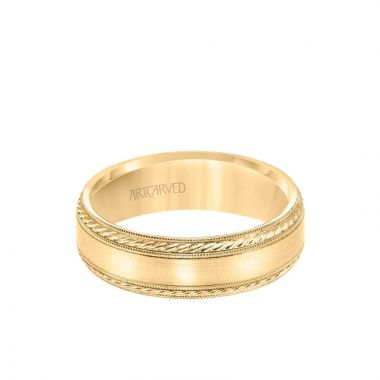 ArtCarved 6.5MM Men's Wedding Band - Satin Finish with Rope and Milgrain Accents and Milgrain Edge in 14k Yellow Gold