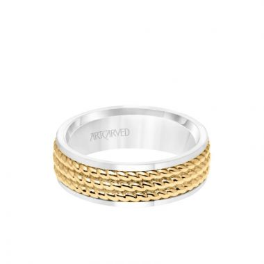 ArtCarved 7MM Men's Wedding Band - Polished Finish with Triple Rope Inlay and Polished Edge in 14k White and Yellow Gold