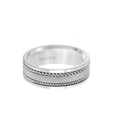 ArtCarved Platinum 7MM Men's Wedding Band - Satin Finish with Rope Inlay and Polished Edge