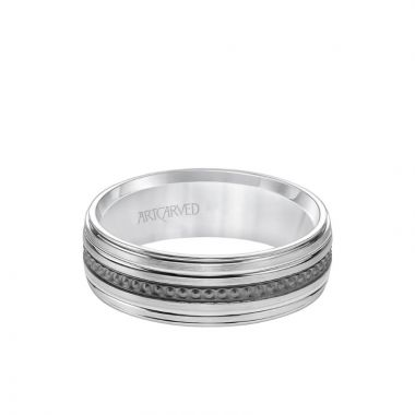 ArtCarved 7MM Men's Wedding Band - Brush Finish with Textured Black Rhodium with Polished Lines and Round Edge in 14k White Gold