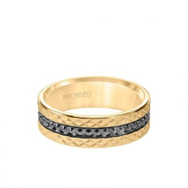 ArtCarved 7MM Men's Wedding Band - Criss Cross Satin Soft Sand Engraved Design with Textured Black Rhodium and Flat Edge in 14k Yellow Gold