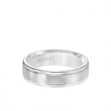 ArtCarved 6MM Men's Classic Wedding Band - Brush Finish and Round Edge in 18k White Gold