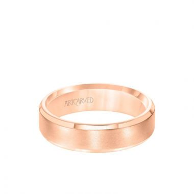 ArtCarved 6MM Men's Classic Wedding Band - Brush Finish and Bevel Edge in 14k Rose Gold