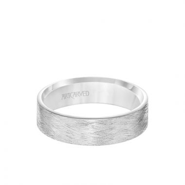 ArtCarved Platinum 6MM Men's Classsic Wedding Band - Emery Finish and Roll Edge
