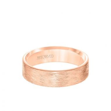 ArtCarved 6MM Men's Classsic Wedding Band - Emery Finish and Roll Edge in 14k Rose Gold