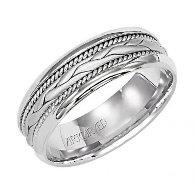 ArtCarved 18k White Gold Carved Milgrain Wedding Band