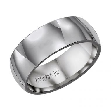 ArtCarved Gray Tungsten Carbide 8mm Wedding Band