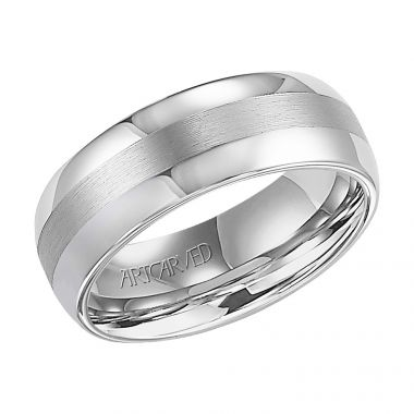 ArtCarved White Tungsten Carbide 8mm Comfort Fit Wedding Band