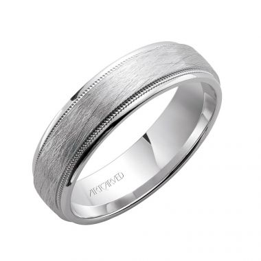 ArtCarved 14k White Gold Crystalline Center Wedding Band