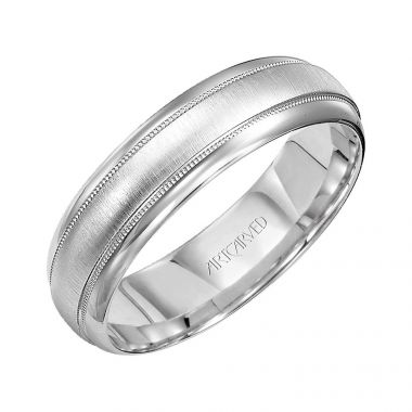 ArtCarved 14k White Gold Brushed Milgrain Wedding Band