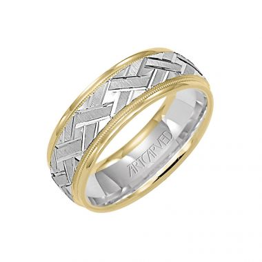 ArtCarved 14k Two Tone Gold Carved Wedding Band
