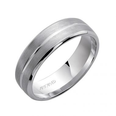 ArtCarved 14k White Gold Men's Beveled Wedding Band