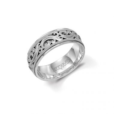 ArtCarved 14k White Gold Men's Carved Wedding Band