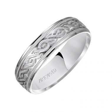 ArtCarved 14k White Gold Carved Wedding Band