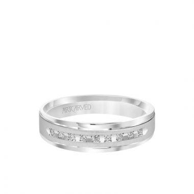 ArtCarved Platinum 6MM Men's Classic Nine Stone Diamond Wedding Band - Vertical Brush Finish and Rolled Edge