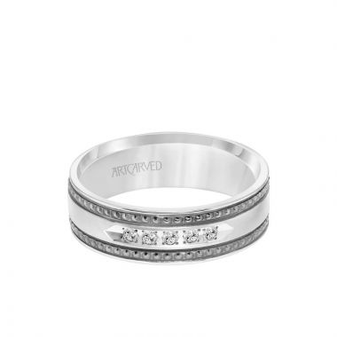 ArtCarved 7MM Shades of Grey Collection Five Stone Diamond Wedding Band - Textured Black Rhodium Detail and Flat Edge in 14k White Gold