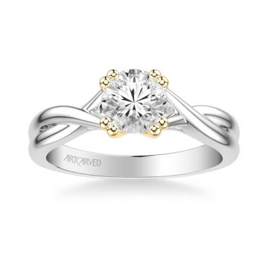 ArtCarved Solitude Contemporary Solitaire Twist Diamond Engagement Ring in 18k White and Yellow Gold