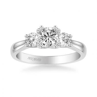 ArtCarved Amanda Classic Three Stone Diamond Engagement Ring in 18k White Gold