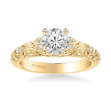 ArtCarved Peyton Vintage Side Stone Diamond Engagement Ring in 18k Yellow Gold