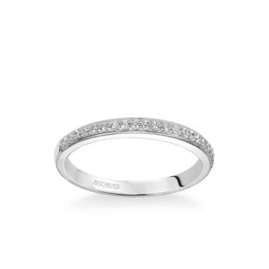 ArtCarved Stella Contemporary Diamond Wedding Band in 18k White Gold
