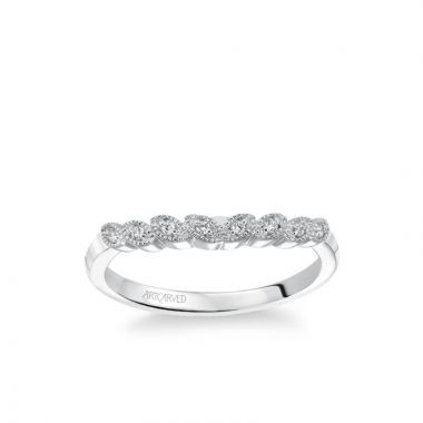 ArtCarved Adeline Contemporary Diamond and Milgrain Floral Wedding Band in 18k White Gold