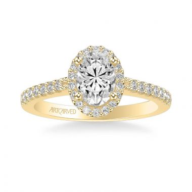 ArtCarved Kate Classic Oval Halo Diamond Engagement Ring in 14k Yellow Gold