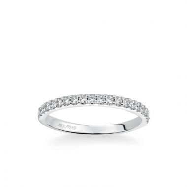 ArtCarved Layla Classic Diamond Wedding Band in 18k White Gold