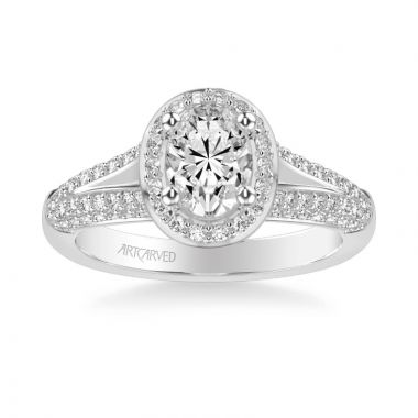 ArtCarved Ariel Classic Oval Halo Diamond Engagement Ring in 14k White Gold
