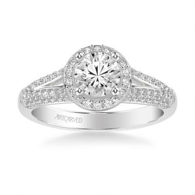 ArtCarved Platinum Reese Classic Round Halo Diamond Engagement Ring