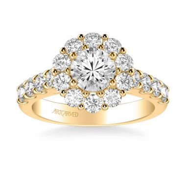 ArtCarved Wynona Classic Round Halo Diamond Engagement Ring in 14k Yellow Gold
