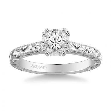 ArtCarved Bernadette Vintage Solitaire Engagement Ring in 18k White Gold