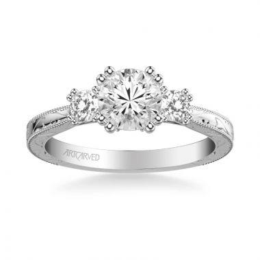 ArtCarved Platinum Anabelle Vintage Three Stone Diamond Engagement Ring