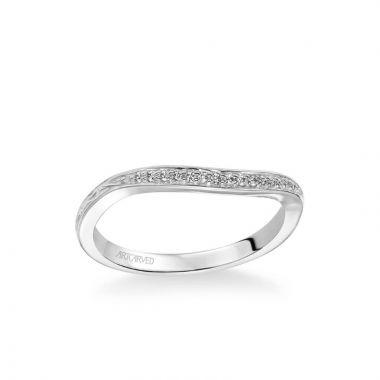 ArtCarved Farrah Vintage Diamond Engraved Wedding Band in 18k White Gold