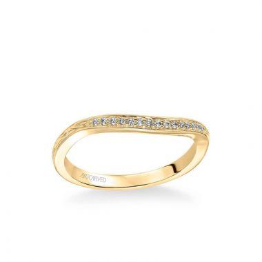 ArtCarved Farrah Vintage Diamond Engraved Wedding Band in 18k Yellow Gold