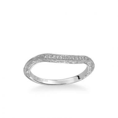 ArtCarved Angel Vintage Diamond and Milgrain Engraved Wedding Band in 18k White Gold