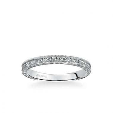 ArtCarved Platinum Zoya Vintage Diamond and Milgrain Engraved Wedding Band