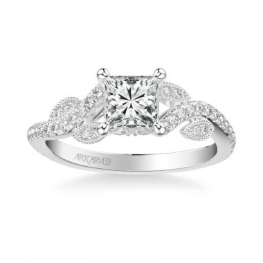 ArtCarved Milena Contemporary Side Stone Floral Diamond Engagement Ring in 14k White Gold