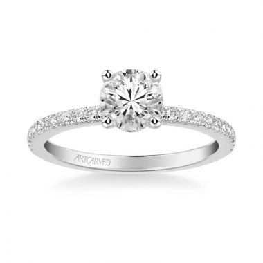 ArtCarved Sybil Classic Side Stone Diamond Engagement Ring in 14k White Gold