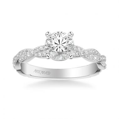 ArtCarved Madeleine Contemporary Side Stone Twist Diamond Engagement Ring in 14k White Gold